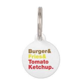 ハンバーガー及び揚げ物及びトマト・ケチャップ ペット ネームタグ