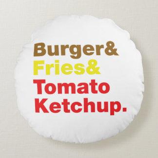 ハンバーガー及び揚げ物及びトマト・ケチャップ ラウンドクッション