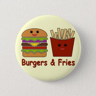 ハンバーガー及び揚げ物 缶バッジ