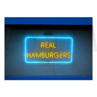 ハンバーガー愛! 青いハンバーガーのバーのネオンレトロの印カード カード