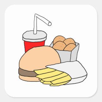 ハンバーガー、揚げ物、チキン・ナゲットおよびソーダ スクエアシール