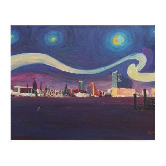ハンブルクおよびエルベ川交響楽団のホールの星明かりの夜 ウッドウォールアート
