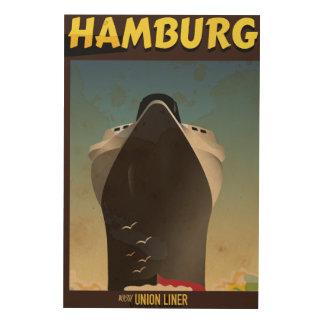 ハンブルクはさみ金のヴィンテージ旅行ポスター ウッドウォールアート