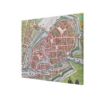 ハンブルクドイツ(1590年)のヴィンテージの地図 キャンバスプリント