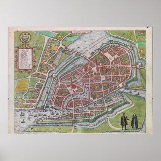 ハンブルクドイツ(1590年)のヴィンテージの地図 ポスター