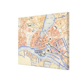 ハンブルクドイツ(1888年)のヴィンテージの地図 キャンバスプリント