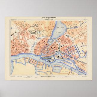 ハンブルクドイツ(1888年)のヴィンテージの地図 プリント