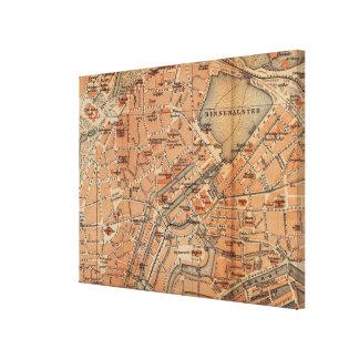 ハンブルクドイツ(1910年)のヴィンテージの地図 キャンバスプリント