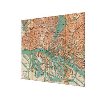 ハンブルクドイツ(1910年) 2のヴィンテージの地図 キャンバスプリント