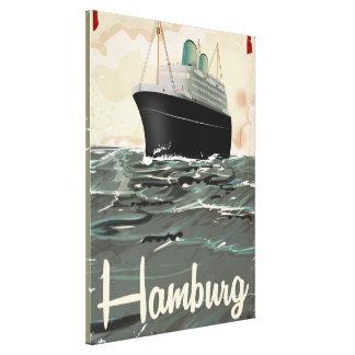ハンブルクヴィンテージ旅行ポスター キャンバスプリント