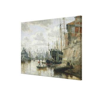ハンブルク港1848年の丸太小屋 キャンバスプリント
