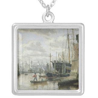 ハンブルク港1848年の丸太小屋 シルバープレートネックレス