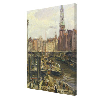 ハンブルク1905年の運河の浮遊市場 キャンバスプリント