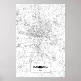 ハンブルク、ドイツ(白の黒) ポスター