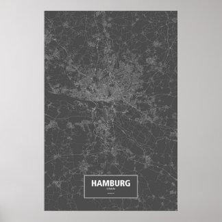 ハンブルク、ドイツ(黒で白い) ポスター