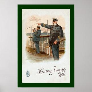 ハンブルクAmerika ~ SS Walderseeの~の船の役人の~ ポスター