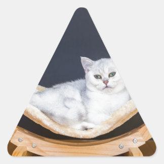 ハンモックで不精な白い猫のあること 三角形シール