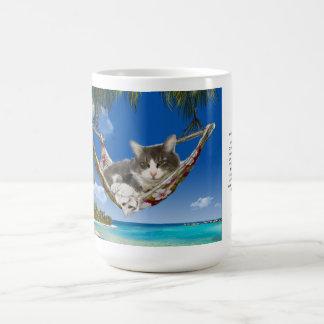 ハンモックのカリブのな猫の15ozマグのコーデュロイ コーヒーマグカップ