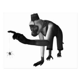 ハーディ・ガーディ3D音楽猿及びくもの黒及び白 ポストカード