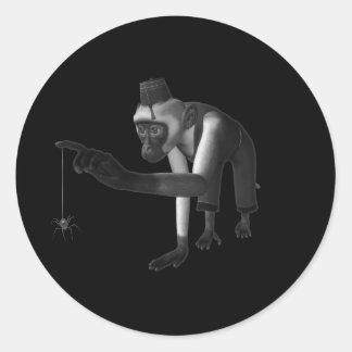 ハーディ・ガーディ3D音楽猿及びくもの黒及び白 ラウンドシール