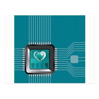 ハートおよびコードのコンピュータプロセッサ ポストカード