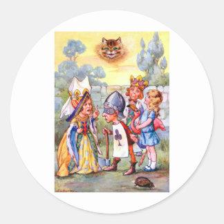 ハートおよびチェシャー猫の王そして女王 ラウンドシール