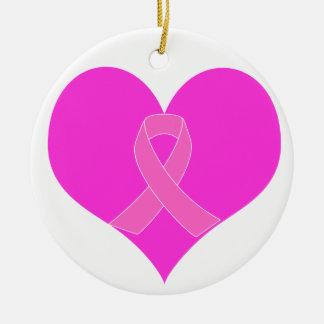 ハートおよびリボンの乳癌の慈善のデザイン セラミックオーナメント