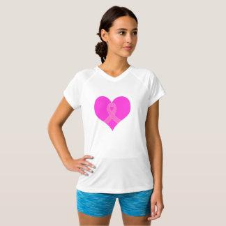 ハートおよびリボンの乳癌の慈善のデザイン Tシャツ