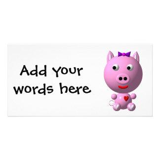 ハートおよび弓とのかわいく小さいピンクの豚のよう! カード