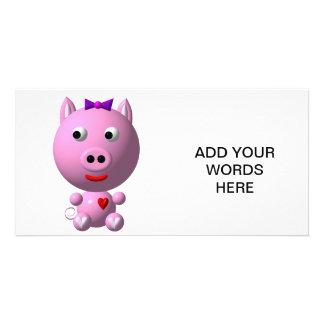ハートおよび弓とのかわいく小さい豚のよう! カード