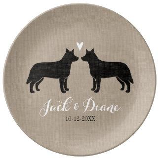 ハートおよび文字を持つオーストラリアの牛犬 磁器プレート