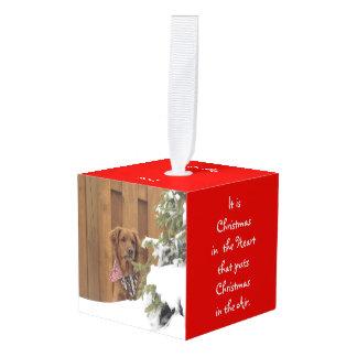 ハートおよび空気の犬の立方体のオーナメントのクリスマス キューブオーナメント