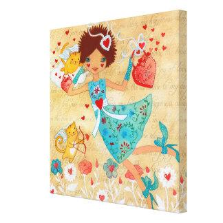 ハートおよび花を持つバレンタインデーのキューピッド猫 キャンバスプリント