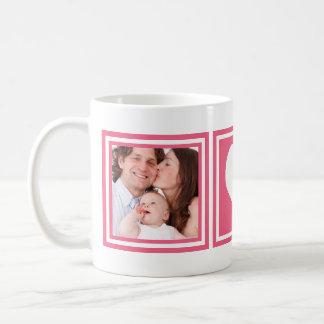 ハートおよびInstagramの2つの写真とのかわいいショッキングピンク コーヒーマグカップ