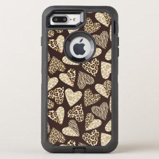 ハートが付いているアニマル・スキン オッターボックスディフェンダーiPhone 8 PLUS/7 PLUSケース