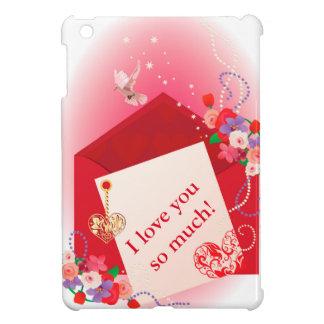 ハートが付いているバレンタインの背景カード iPad MINIケース