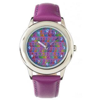 ハートが付いている多彩のフラミンゴの腕時計 腕時計
