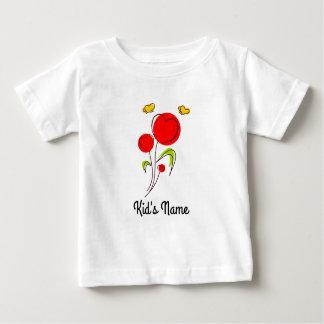 ハートが付いている花 ベビーTシャツ