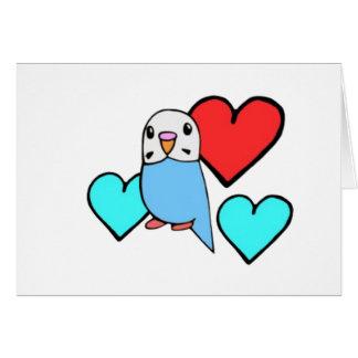 ハートとの青いBudgie カード