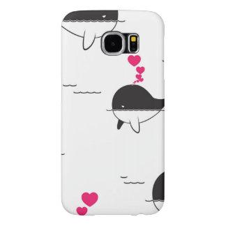 ハートとの黒く及び白いクジラのデザイン SAMSUNG GALAXY S6 ケース