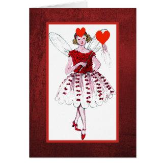 ハートによって覆われる服を持つバレンタインの妖精 カード