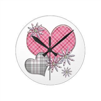 ハートによってnは時計が開花します ラウンド壁時計