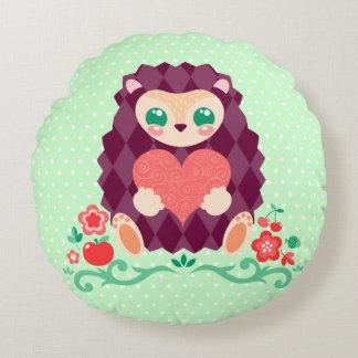 ハートのかわいいHedgie -円形の枕 ラウンドクッション