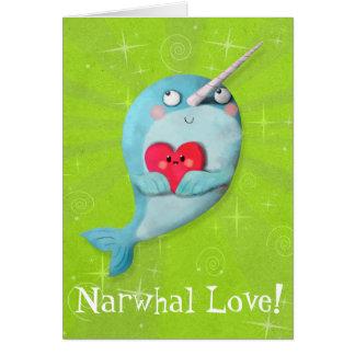 ハートのかわいいNarwhal カード