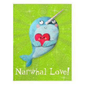 ハートのかわいいNarwhal ポストカード