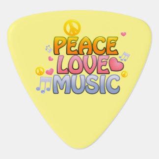 ハートのイメージの平和愛音楽ギターの一突き、 ギターピック
