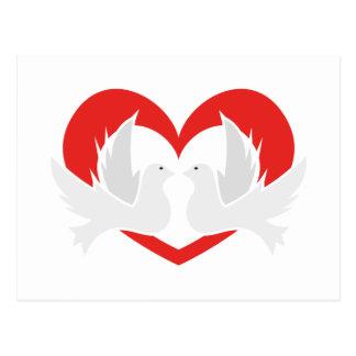 ハートのイラストレーションのハト派議員 ポストカード