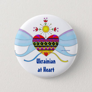 ハートのウクライナの民芸のウクライナ語 5.7CM 丸型バッジ