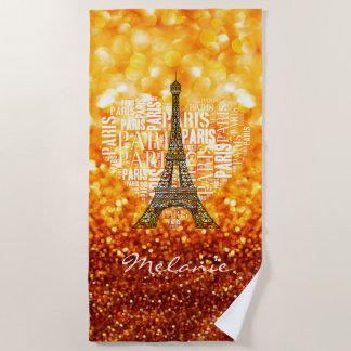 ハートのエッフェル塔および銘刻文字パリ ビーチタオル