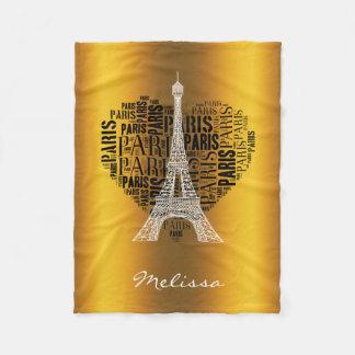 ハートのエッフェル塔及び銘刻文字パリ フリースブランケット